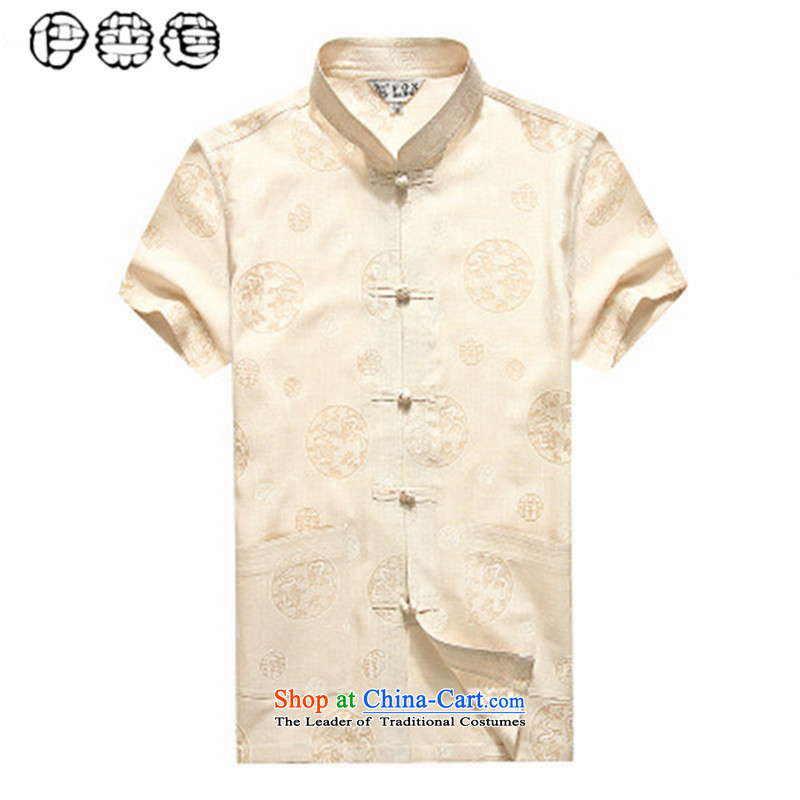Hirlet Wu Xia, middle-aged men 2015 short-sleeved shirt taxi Tang dynasty China wind load shirt relaxd grandpa birthday large middle-aged men's father yellow B 165