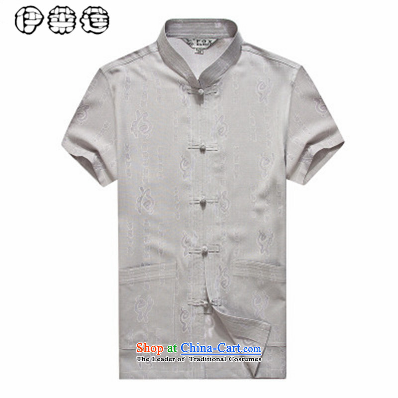 Hirlet Wu Xia, middle-aged men 2015 Tang dynasty taxi stand collar short-sleeved shirt that elderly men casual large summer linen: Father boxed gray 180