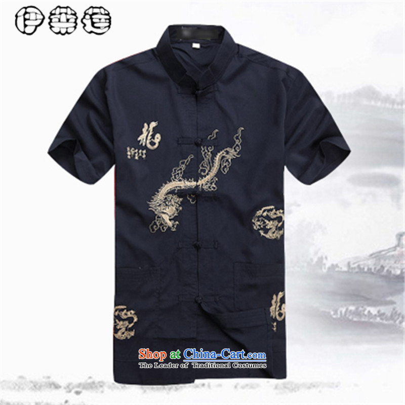 Hirlet Wu Xia, middle-aged men 2015 taxi short-sleeved shirts in Tang Dynasty older father large relaxd linen collar installed from Grandpa hot half-sleeved shirt Black�170