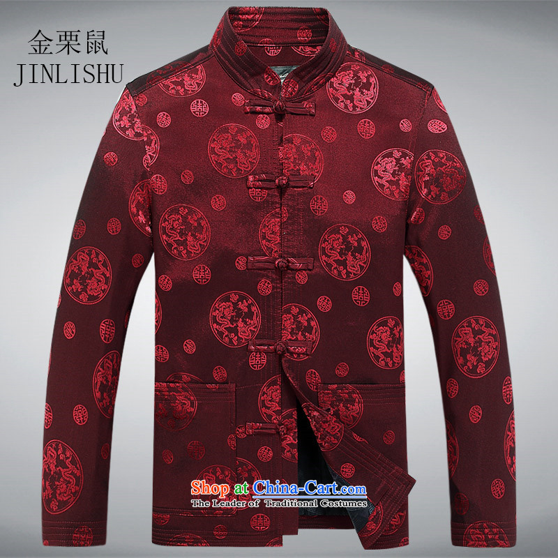 Kanaguri mouse of older persons in the Tang dynasty and long-sleeved shirt men spring men Tang Jacket coat elderly clothes red T-shirt�L