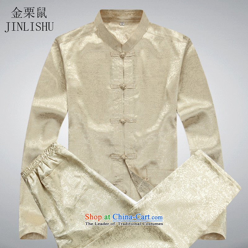 Kanaguri Mouse middle-aged men spring loaded in Tang long sleeved shirt older Men's Shirt new spring loaded Tang Kit beige kit�XL