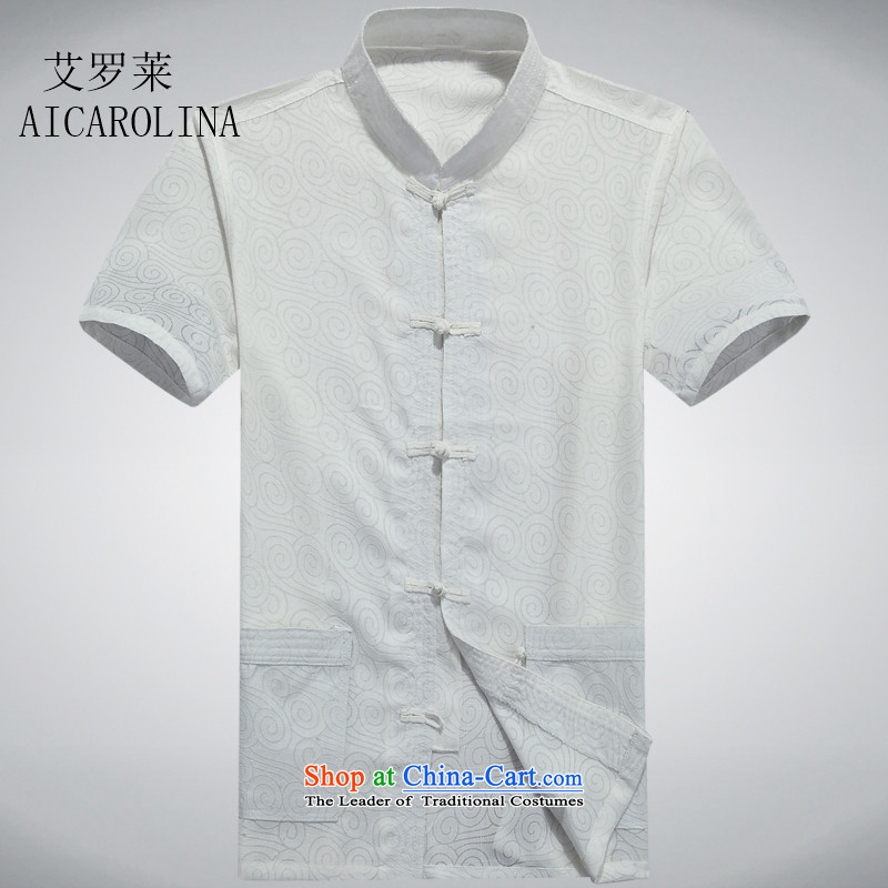 Hiv Rollet men in the summer of older men, short-sleeved Tang Dynasty Han-middle-aged father of older persons Tang blouses half sleeve white?XXXL