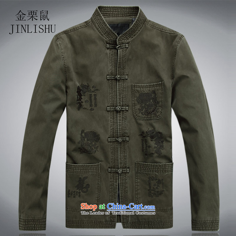 Kanaguri mouse new men in the spring of long-sleeved Tang Tang dynasty older men and elderly long-sleeved jacket Tang collar disc detained men dark green燲XXL