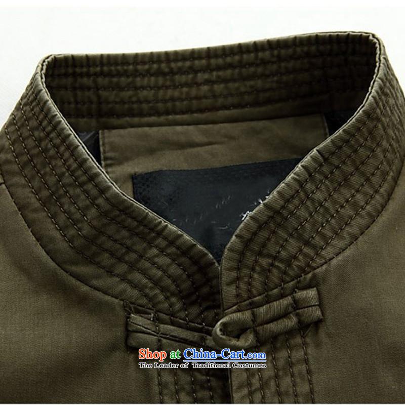 Kanaguri mouse new men in the spring of long-sleeved Tang Tang dynasty older men and elderly long-sleeved jacket Tang collar disc detained men dark green聽XXXL, kanaguri mouse (JINLISHU) , , , shopping on the Internet