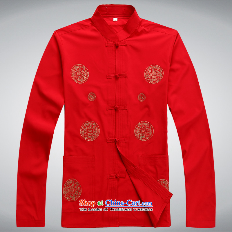 Hundreds of brigade bailv summer Stylish slim, collar comfortable long-sleeved tray clip leisure wears?XXXL red