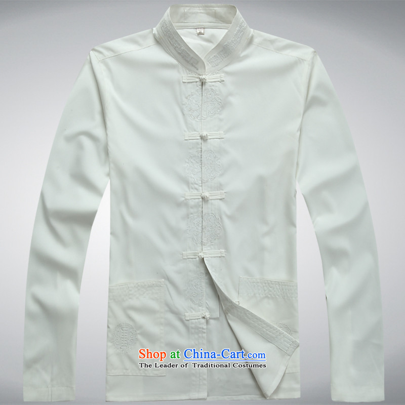 Hundreds of brigade bailv summer Stylish slim, collar comfortable long-sleeved tray clip leisure wears White?XXL