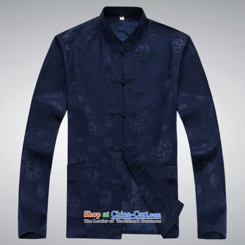 Hundreds of brigade bailv summer Stylish slim, collar comfortable long-sleeved tray clip leisure wears dark blue燲XL