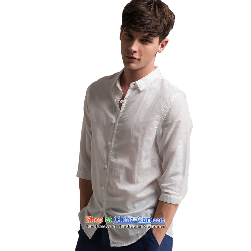 Original China wind men linen T-shirts and summer seven short-sleeve loose solid color cotton linen Chinese Tang blouses SL8YK3019 black聽, L, Oxygen (Yχc) , , , shopping on the Internet