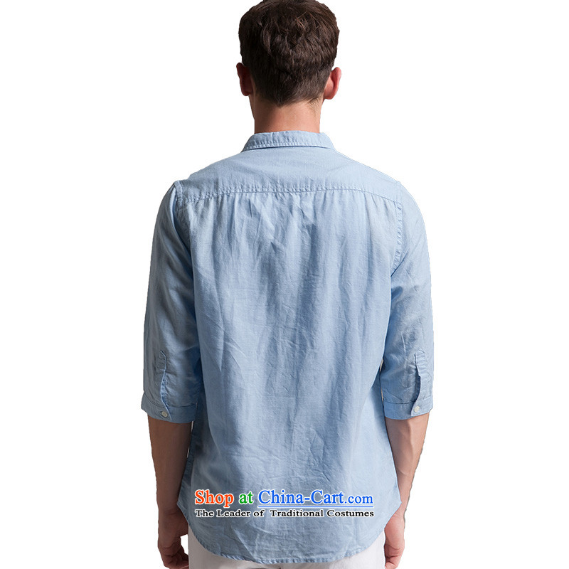 Original China wind men linen T-shirts and summer seven short-sleeve loose solid color cotton linen Chinese Tang blouses SL8YK3019 black聽, L, Oxygen (Y&chic) , , , shopping on the Internet