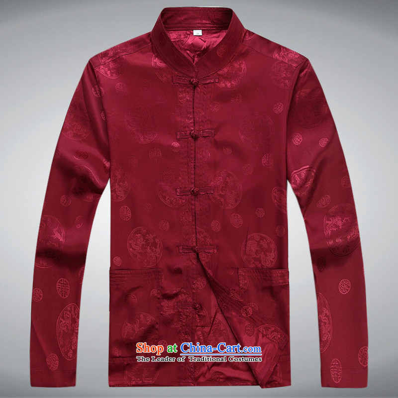 Hundreds of brigade bailv summer Stylish slim, collar comfortable long-sleeved tray clip leisure wears dark red?M