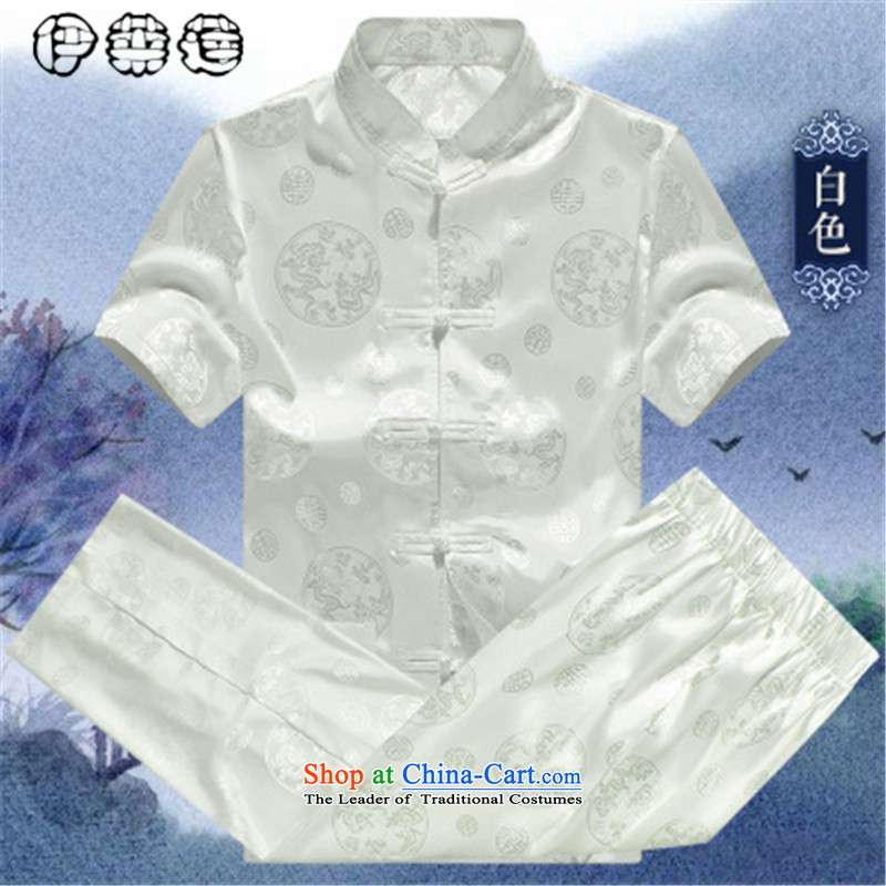 Hirlet Wu Xia Men, 2015 Tang Dynasty Package for the elderly father short-sleeved men loose clothing with larger elderly grandparents summer China wind possession of blue聽175 Yele Ephraim ILELIN () , , , shopping on the Internet