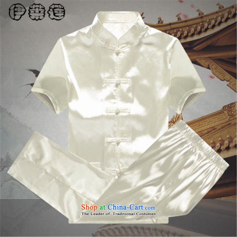Hirlet Wu Xia Tang Dynasty, 2015 emulation silk men short-sleeved T-shirt and older persons in the Han-China wind men's loose large short-sleeve kit White?175