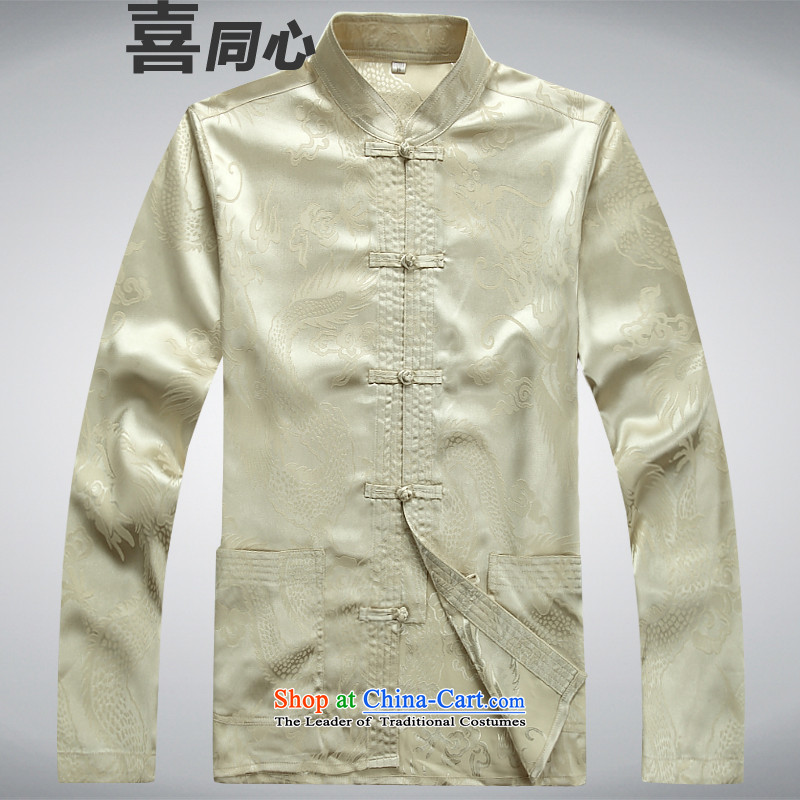 ?The new 2015 concentric-hi t-shirt l men Tang dynasty beige A?L
