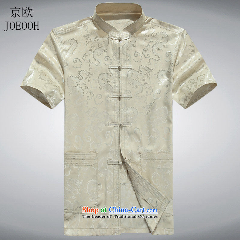 Beijing Europe summer new elderly men Tang blouses father replacing middle-aged short-sleeved Tang dynasty new beige燲XL