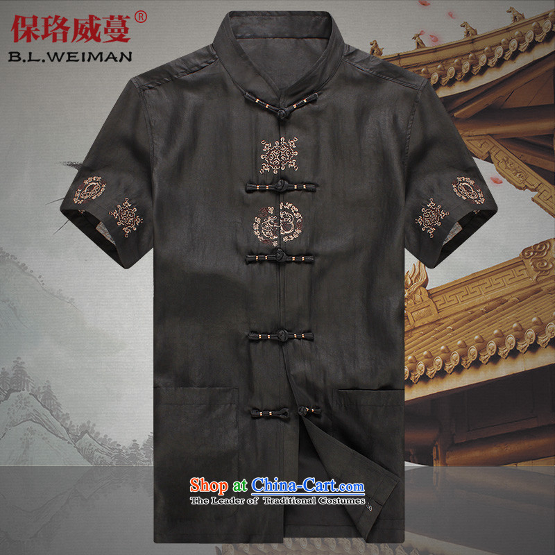 The Lhoba nationality Wei Overgrown Tomb 100 warranty really silk Tang dynasty male short-cloud of Tang Dynasty short-sleeve male summer clothing of older persons in older embroidery incense cloud yarn black?L