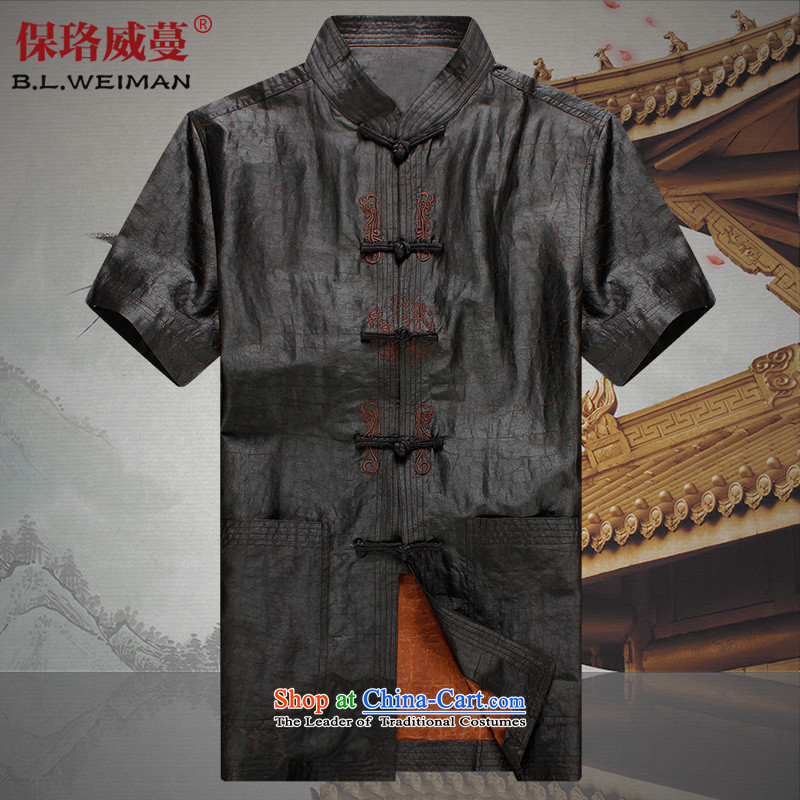 The Lhoba nationality Wei Mephidross Warranty Tang dynasty men silk shirts to Summer Scent of Tang Dynasty and cloud short-sleeved clothes on the older 100 herbs extract Tang-pack Black聽4XL