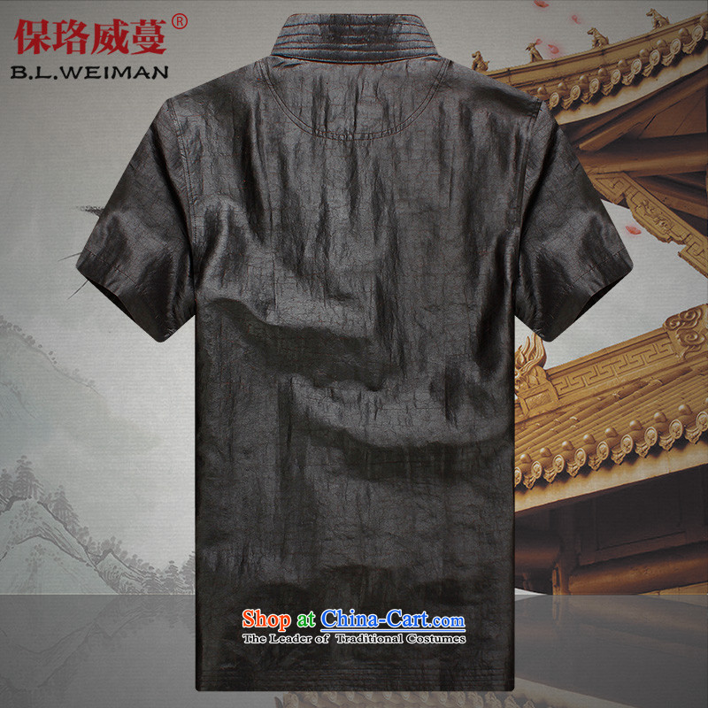 The Lhoba nationality Wei Mephidross Warranty Tang dynasty men silk shirts to Summer Scent of Tang Dynasty and cloud short-sleeved clothes on the older 100 herbs extract Tang-pack Black聽4XL, warranty, Judy Wai (B.L.WEIMAN Overgrown Tomb) , , , shopping on