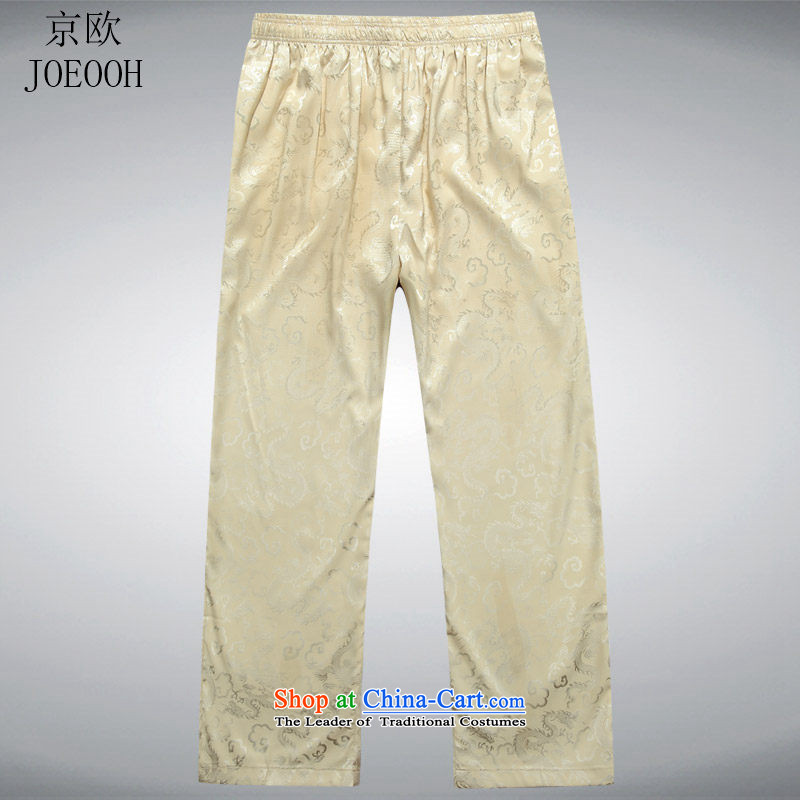 Beijing new and old age are European summer leisure Tang dynasty silk men elastic waist trousers large relaxd beige?L