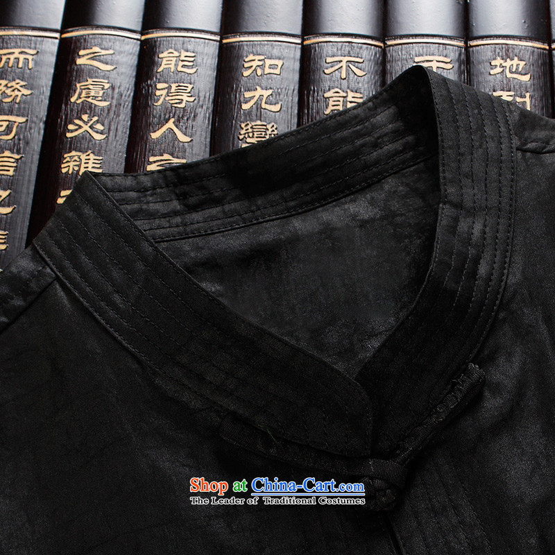The Lhoba nationality Wei Overgrown Tomb incense warranty cloud yarn male short-sleeved Tang dynasty men 100% silk in older silk-collar tray clip Lung Heung-cloud yarn-black聽4XL, Tang Wei, Judy Mephidross warranty (B.L.WEIMAN) , , , shopping on the Intern