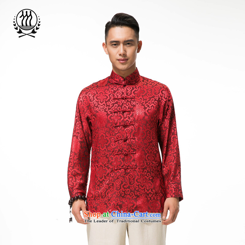 Bosnia and Tang dynasty long-sleeved line thre new products of men and Tang dynasty long-sleeved shirt, elderly men, Tang dynasty XXL_185 deep red