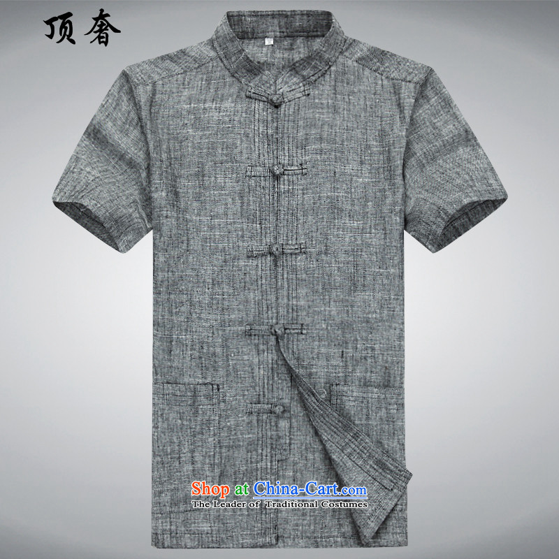 Top Luxury Han-summer men Tang Dynasty Package short-sleeved of older persons in the linen Tang Dynasty Package Version relaxd men father  of Grandpa shirt mock-Dark gray short-sleeved T-shirt�165