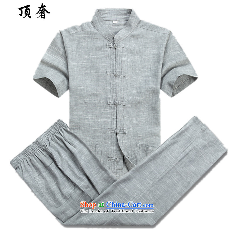 Top Luxury in Tang men older short-sleeve kit summer male short-sleeved linen ethnic Han-China wind men kit beige loose collar tray snap version installed a light gray 1 dad installed?180
