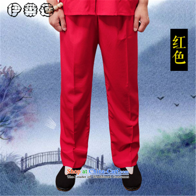 Hirlet summer 2015, Tang Lin pants older summer knitting cloth elastic long trousers and Tai Chi practitioners large loose trousers breathable older casual pants燲XXL red