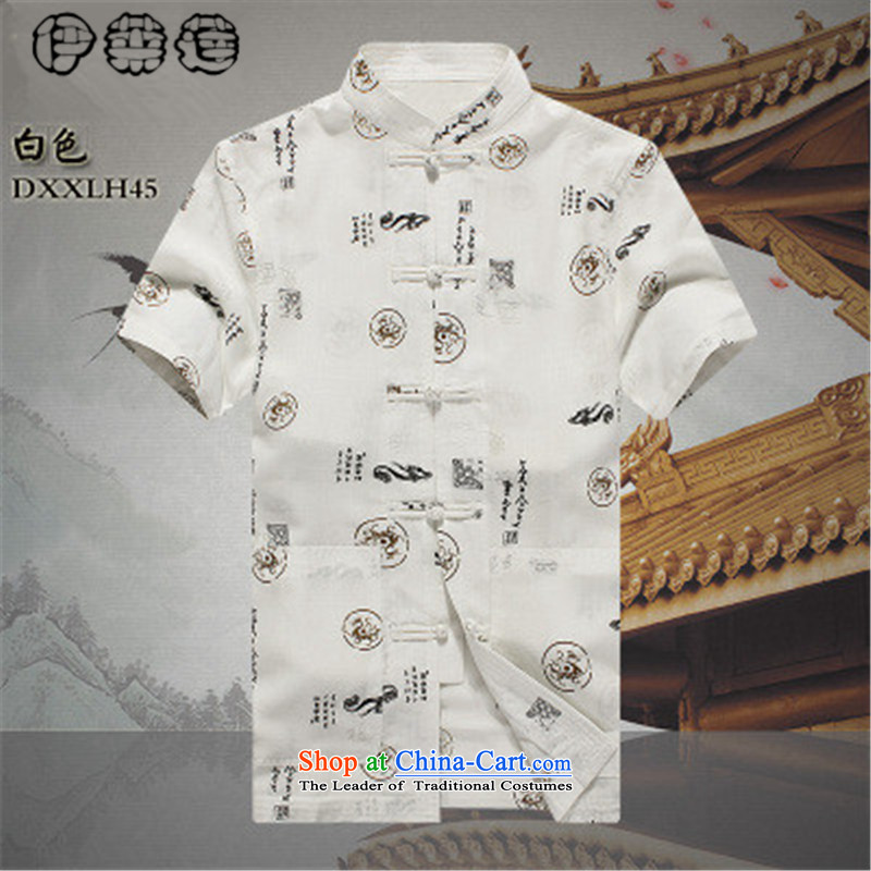Hirlet 2015 summer youth, Lin summer cotton linen Tang dynasty male short-sleeved retro wind up the clip relaxd casual hand printing larger T-shirt and Tang dynasty white聽170