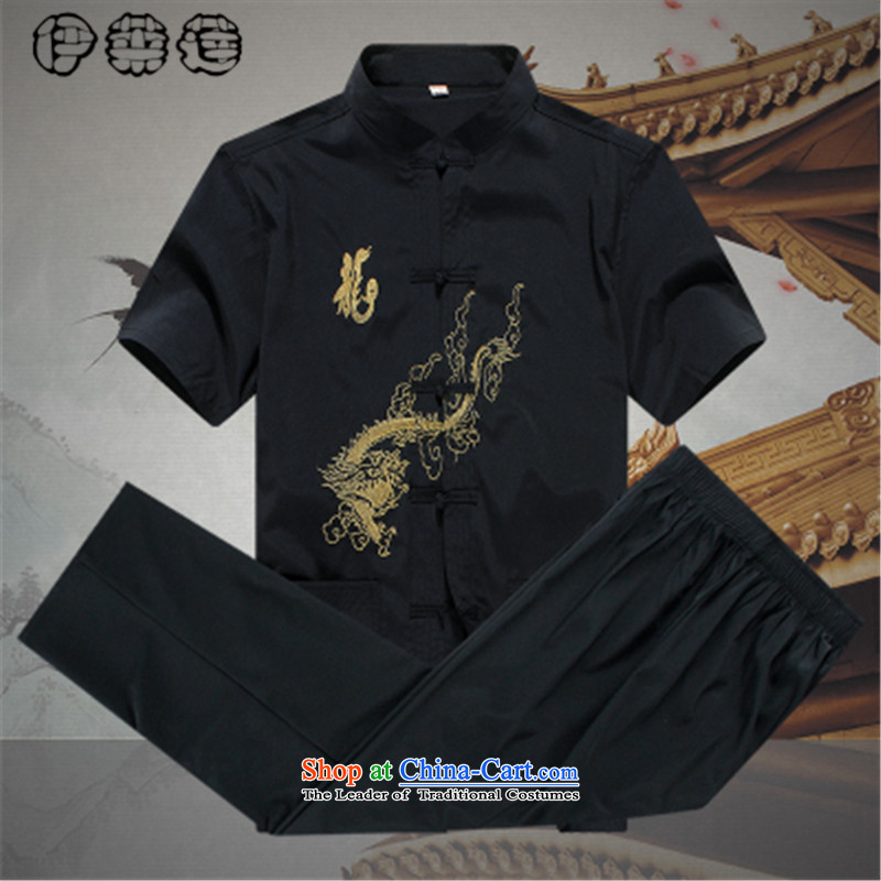 Hirlet Wu Xia Men, 2015 China Wind Jacket loose short-sleeved large male father replacing Chinese Han-Embroidered Tang dynasty older persons National Black�5