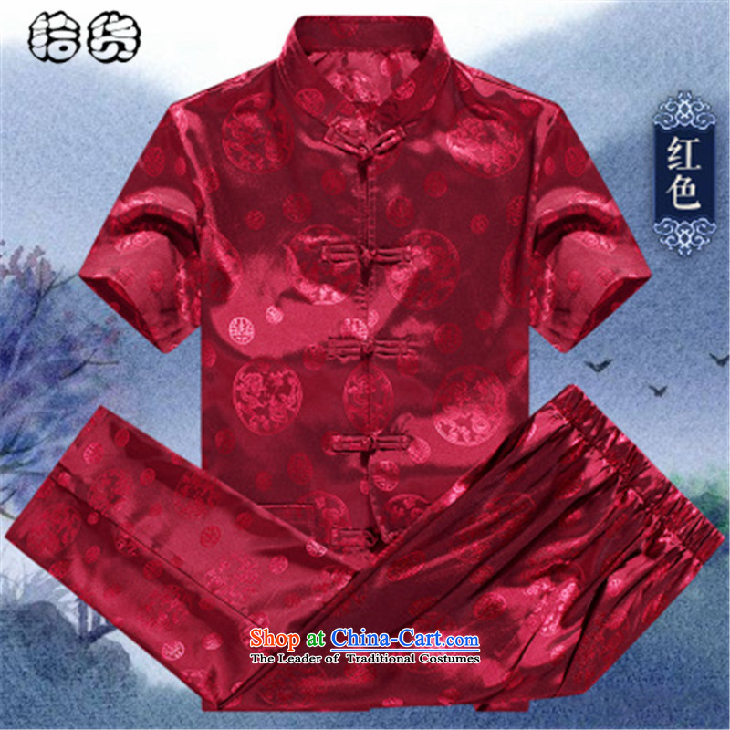 The 2015 summer, pickup Tang dynasty male short-sleeved summer men loose Large Tang dynasty short-sleeved T-shirt in packaged older Han-China wind jogging Taegeuk Services Red聽175