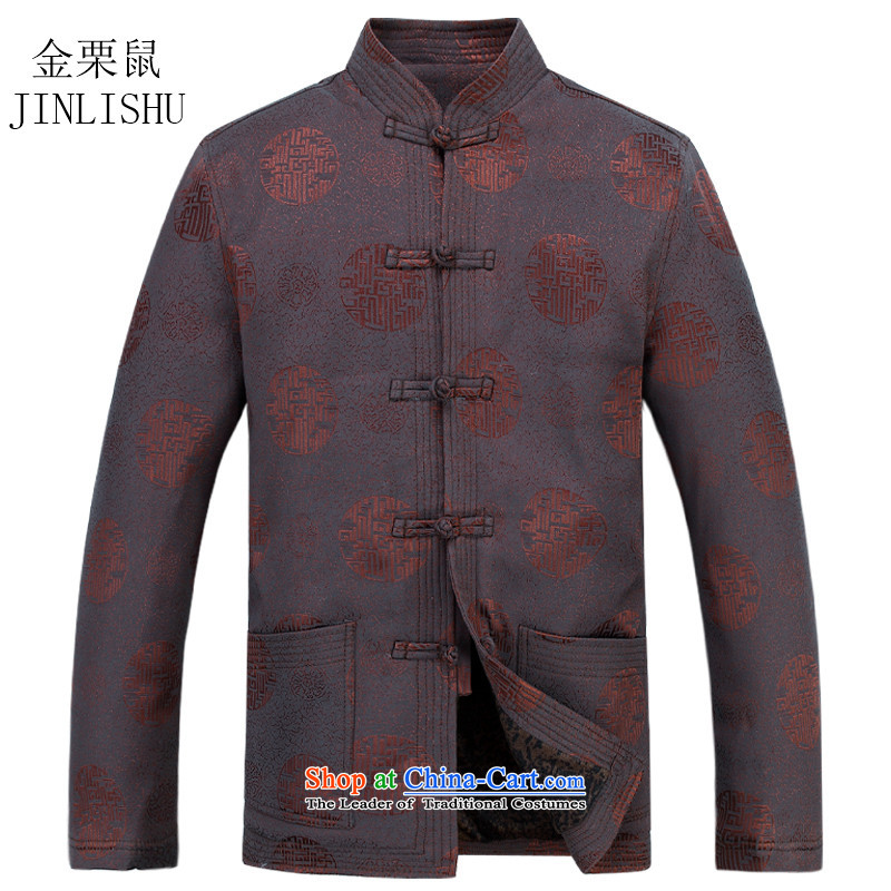 Kanaguri in spring 2015 Mouse older men Tang dynasty long-sleeved blouses and China wind Chinese gift clothing brown燲XL