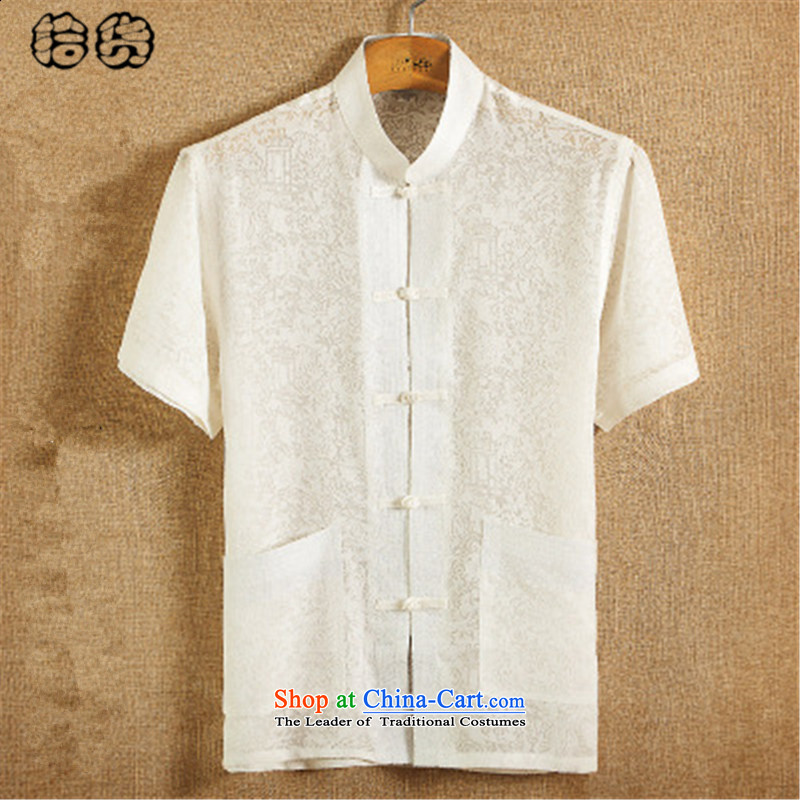 The 2015 summer, pickup Tang dynasty male summer men linen short-sleeved T-shirt collar Men's Shirt loose Large Tang dynasty China wind Han-retreat serving white A 185