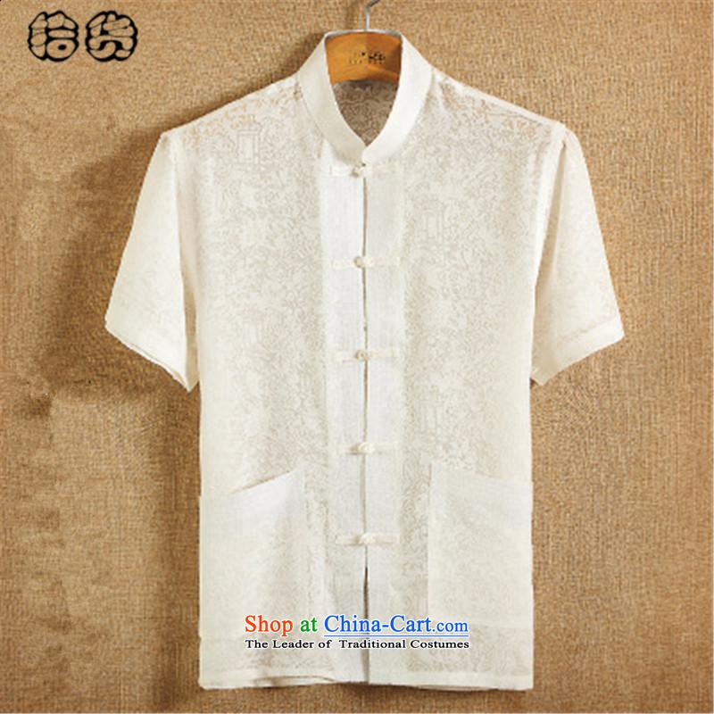 The 2015 summer, pickup Tang dynasty male summer men linen short-sleeved T-shirt collar Men's Shirt loose Large Tang dynasty China wind Han-retreat serving white A 185