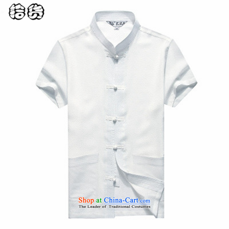 The 2015 summer, pickup China wind men Tang Dynasty Short-Sleeve Men Han-linen shirt larger men loose cotton linen summer short-sleeved shirt with white middle-aged Tang?180
