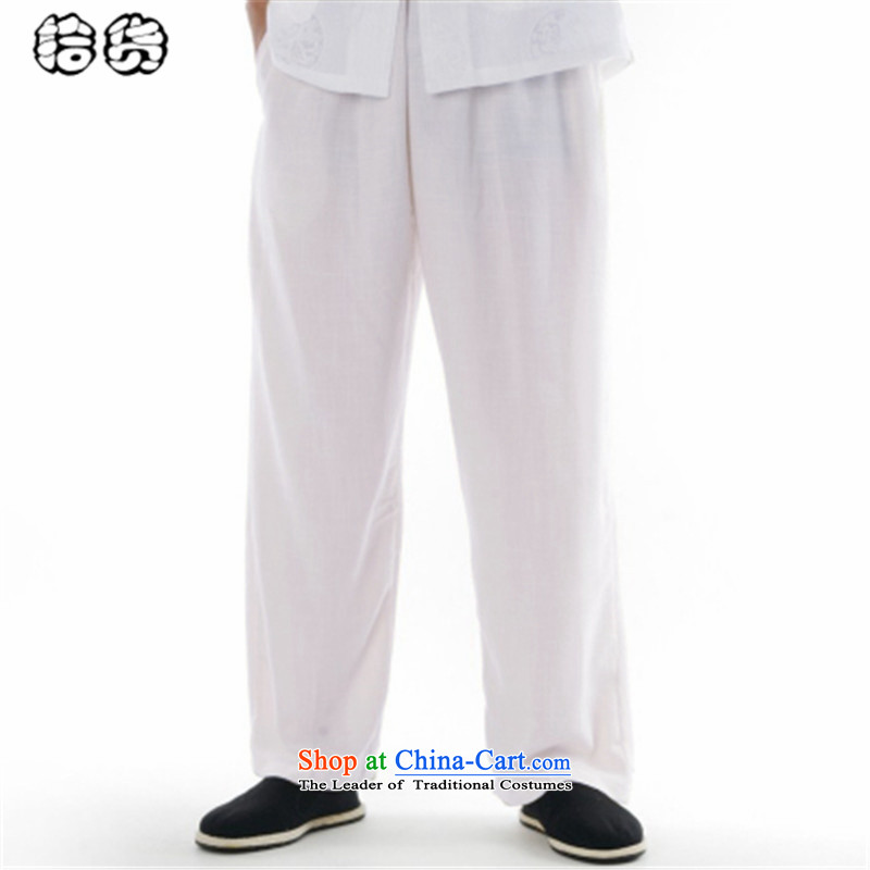 The 2015 summer pickup men Tang dynasty summer pants for larger elasticated relaxd middle-aged waistband trousers washable work trousers father Tang pants down white?29