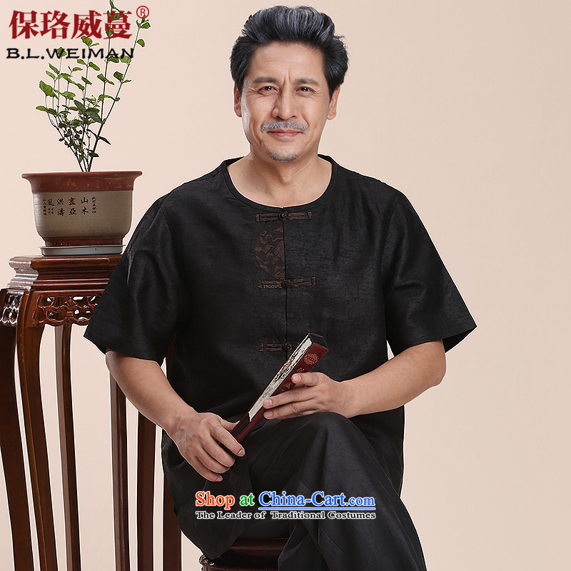 The Lhoba nationality Wei Overgrown Tomb 100 warranty herbs extract round-neck collar Tang dynasty men in short-sleeved shirt of older incense cloud grandpa pack mail black?4XL