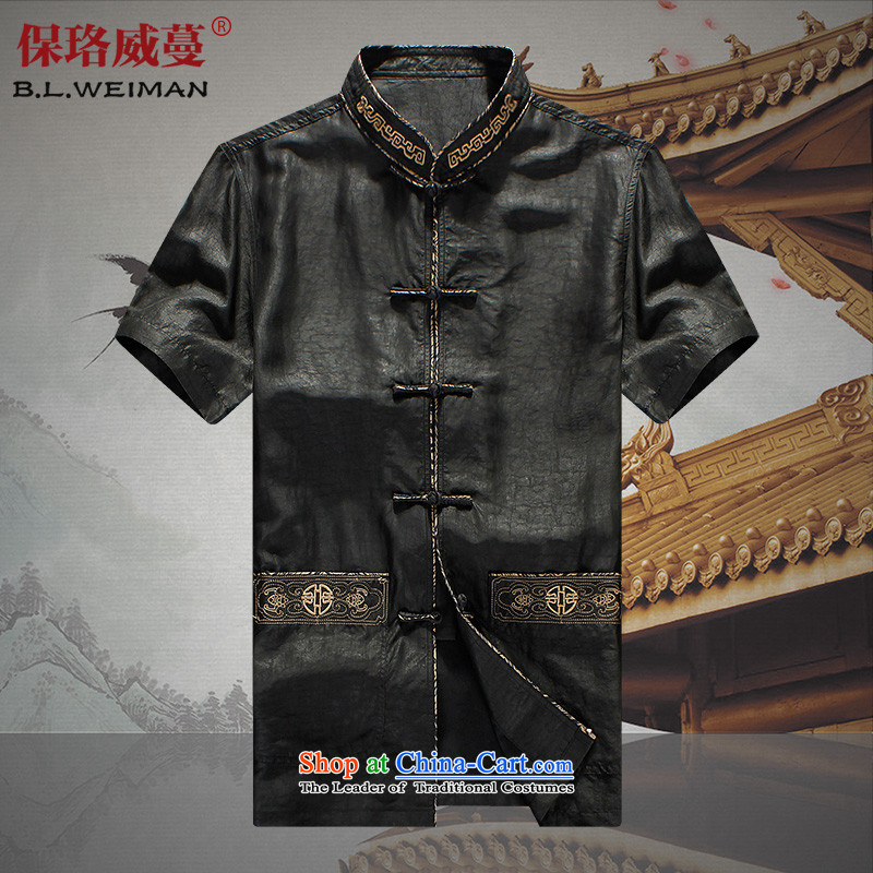 The Lhoba nationality Wei Mephidross Warranty China wind up the clip in the Tang dynasty and the Summer Scent of older cloud yarn short-sleeved shirt with father carpets shirt silk Tang dynasty 100 herbs extract clothes black�L