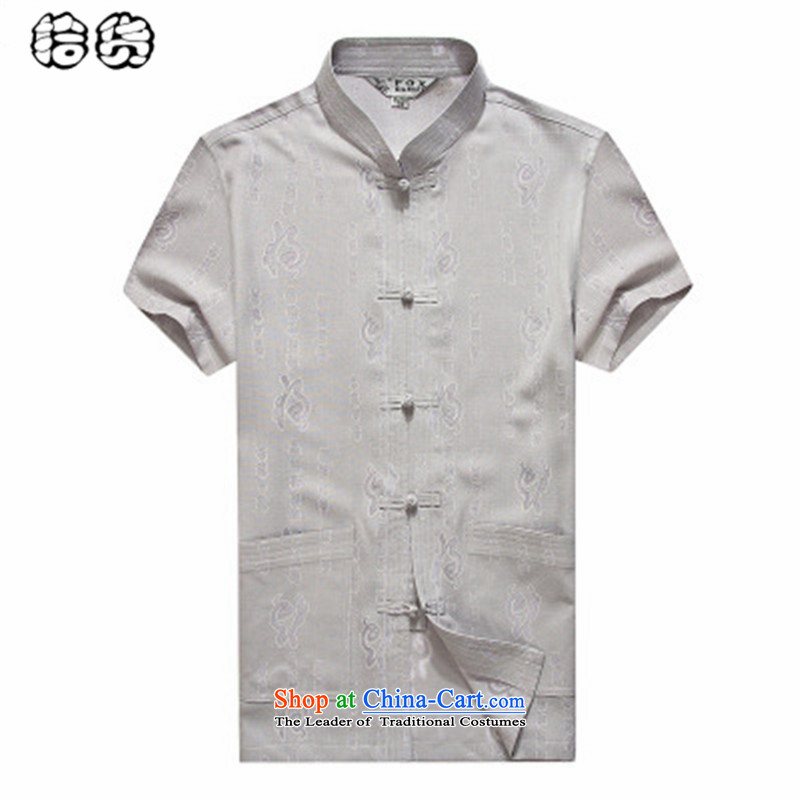 The 2015 summer pickup_ elderly men short-sleeved shirt Tang dynasty large middle-aged men relaxd national costume China wind half sleeve installed�5 Gray Dad