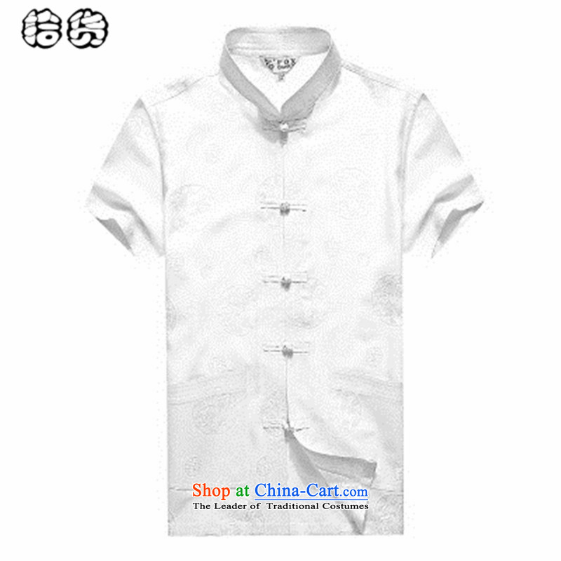 The 2015 summer, pickup linen short-sleeved shirt middle-aged men's Mock-neck Tang Dynasty Large relaxd China wind shirts in older Han-mount white father?165