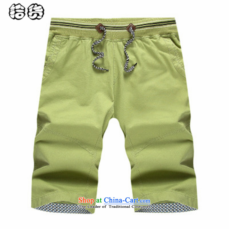 The 2015 summer, pickup middle-aged men's shorts relaxd lounge with a straight shorts in elderly men in pure cotton pants beach shorts Large Cyan燲XL