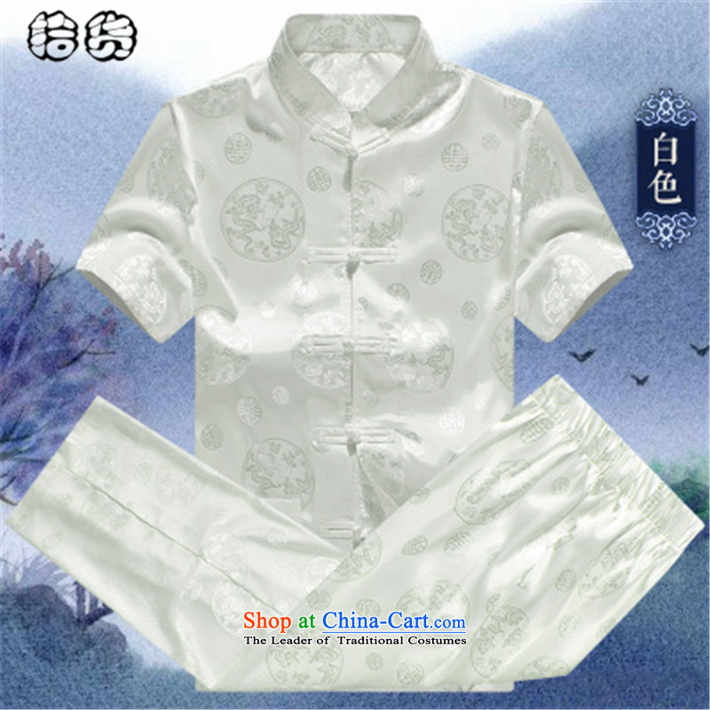 The 2015 summer, pickup men Tang Dynasty Package for the elderly father short-sleeve loose larger elderly men's clothes with grandpapa Han-summer White聽165