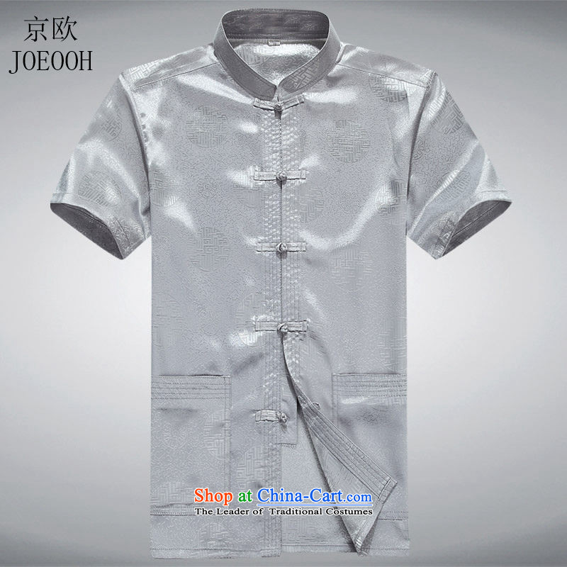 Beijing OSCE men Tang Dynasty Chinese short-sleeved grandfather summer blouses of older persons in the men's summer gray�S