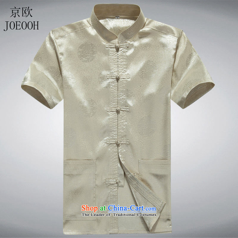Beijing Europe in older summer father short-sleeved Tang Dynasty Chinese men and elderly men Tang dynasty replacing summer short-sleeved Kim燬