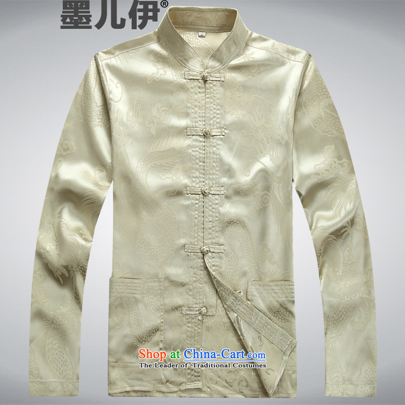 Men's long-sleeved Tang dynasty summer new products of men in T-shirt shirt older men Tang Dynasty Package beige�L
