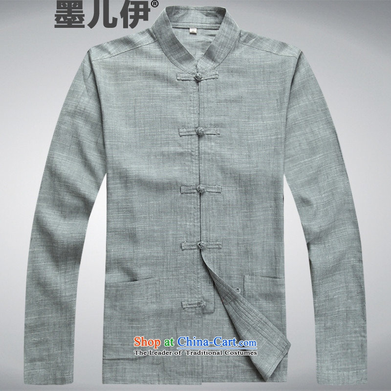 Load the autumn 2015 linen men Tang Dynasty Package long-sleeved shirt national costumes in Chinese Tang dynasty older ma long-sleeved gray _long pants_ gray燤