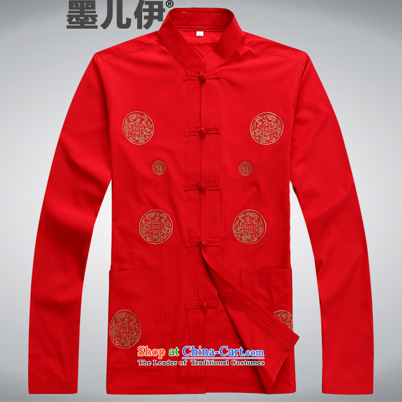 2015 Tang Dynasty Chinese men's summer Long-Sleeve Shirt retro China wind ethnic RED�M