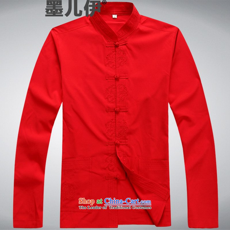 A new summer, long-sleeved Tang in older men exercise clothing Taegeuk Services Red燤