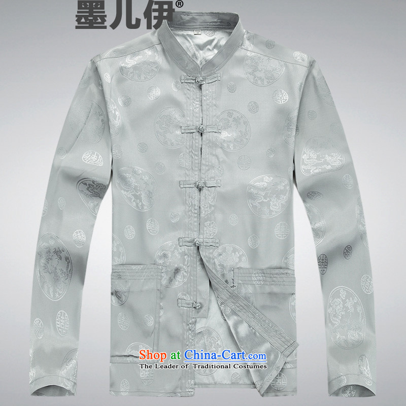 China wind knitting cowboy Tang Dynasty Chinese jacket stylish collar retro Sau San shirt light gray?M