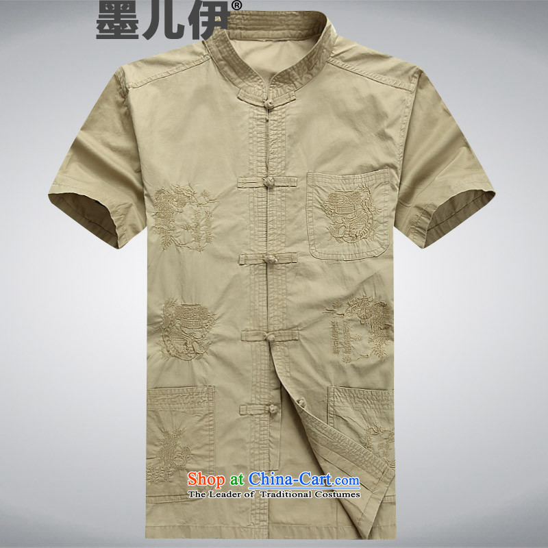 2015 Summer men Tang dynasty male short-sleeved China wind of men to Chinese shirt national dress shirt with Grandpa summer khaki?XXXL