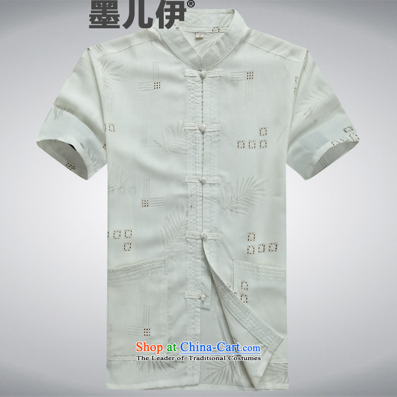2015 Summer men Tang dynasty male short-sleeved China wind men manually disc detained Chinese shirt national dress shirt with grandpapa summer White?M
